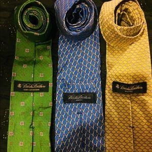 3 Brook's Brothers Assorted Mens Designer Ties